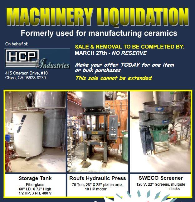 HCP Industries Inc  Ceramic Machinery Liquidation - Professional