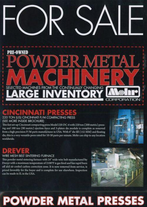 POWDER METAL MACHINERY LIQUIDATION - Professional Sale and